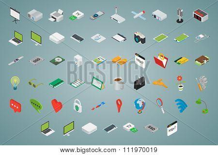 Big set of isometric volumetric icons