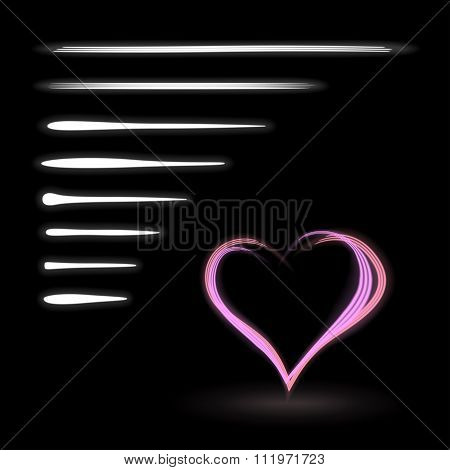 Collection Of Neon White Light Brushes For Light Drawing, With Heart Shaped Example On Black Backgro