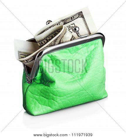 Green Purse With Hundred Dollar Banknote
