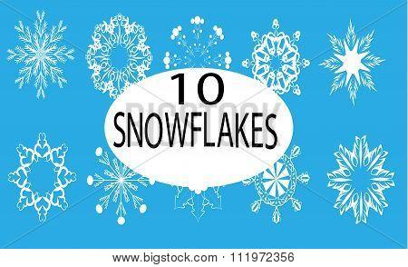 Ten White Snowflakes