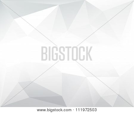 Abstract Polygonal Triangle Grey Background With Horizontal White Gradient, In Vector