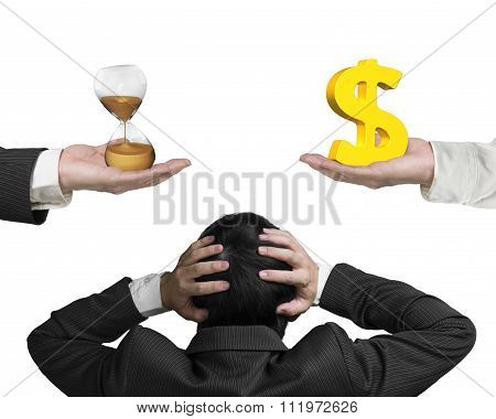 Dollar Sign And Hour Glass With Businessman Hand Holding Head