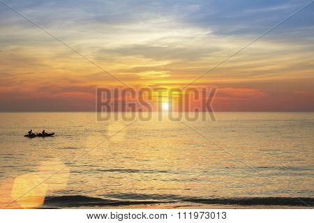 Beautiful sunset on the coast in the subtropics.