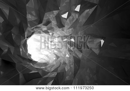 Abstract Shining Black Crystal Digital Tunnel 3D