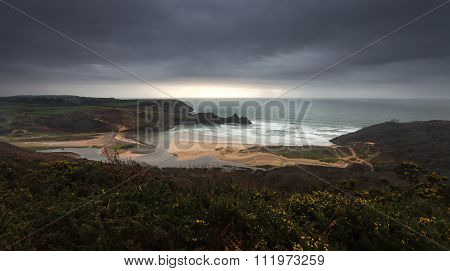 Storm over Three Cliffs Bay Gower