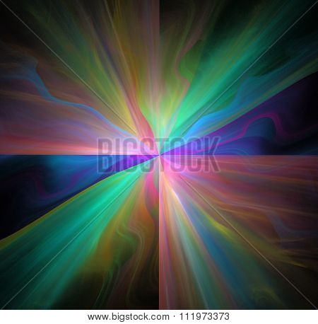 Abstract Black Background With Rainbow Colored Star Or Rays In The Center Texture, Fractal