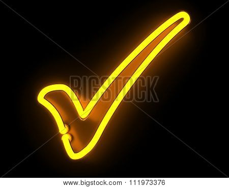 3d render neon check icon isolated on black background