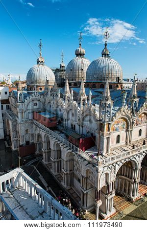 VENICE, ITALY - 17 OCTOBER 2015:Roof architecture details of Basilica San Marco (Saint Mark's basilica). Venice, Italy on 17 October 2015.