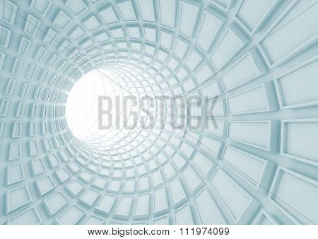 Turning Blue Tunnel Interior With Extruded Tiles