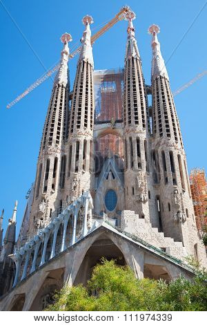La Sagrada Familia Facade, Barcelona City, Spain