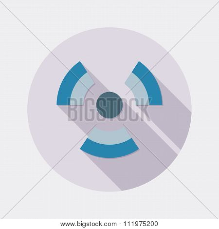 Flat design radioactivity symbol icon with long shadow