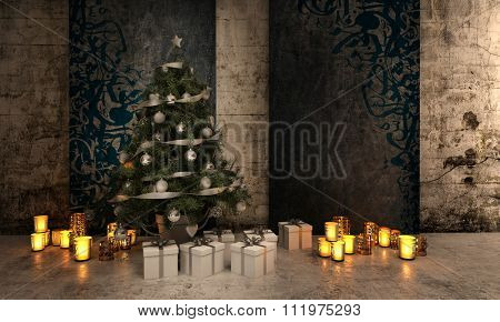 Panoramic Image of Christmas Tree Decorated in Silver Ornaments and Surrounded by Identical Gifts and Lit Candles in Decorative Holders and Illuminated Warm Light in Spacious Home. 3d Rendering.