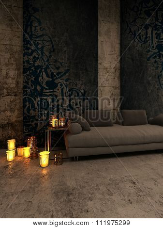 Luxury Home Interior with Focus on Plush Brown Sofa with Lit Candles in Holders Scattered on Side Table and Floor and Emitting Warm Light. 3d Rendering.