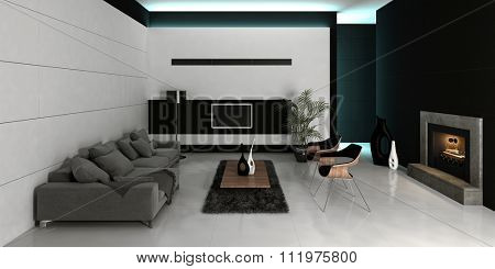 Modern design black and white style living room interior with grey couch against white wall with fireplace. 3d Rendering.