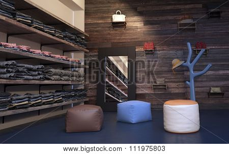 Interior of Upscale Clothing Store with Wood Wall Paneling, Plush Stools and Tree Shaped Coat Rack - Clothing Arranged Neatly on Wall Shelving Beside Mirror. 3d Rendering.