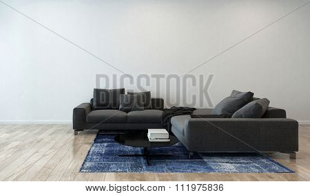 Luxury Home Interior Furnished with Gray Sectional Sofa, Blue Area Rug and Coffee Table - Interior of Modern Luxury High Rise Condo with Wood Floor. 3d Rendering.
