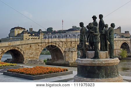 Stone bridge, city center of Skopje, Macedonia