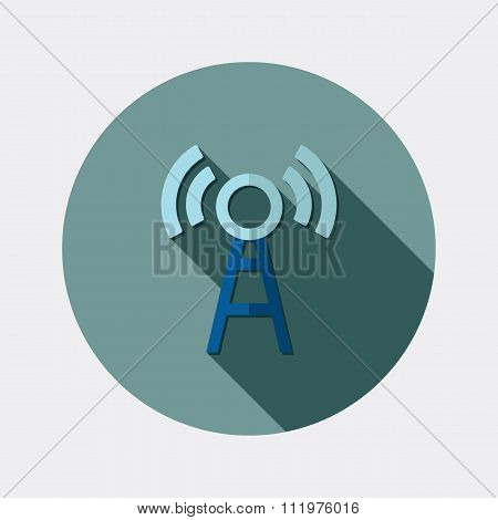 Flat design wireless LAN icon with long shadow