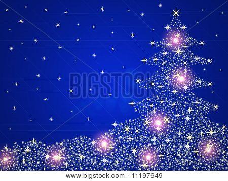 Weihnachtsbaum-Hintergrund mit Sternen und Lichter