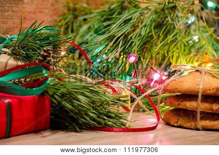 Christmas Composition With Gifts, Cookies And Toys