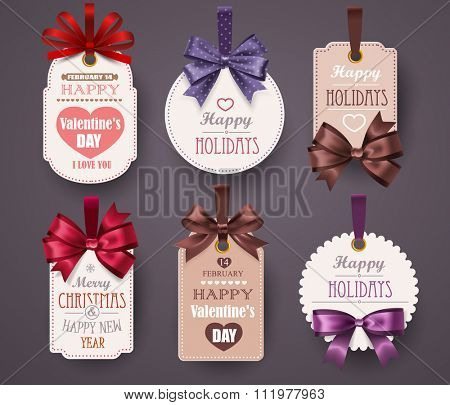 Set Retro Labels with bows and shadow on gray background. Vector illustration