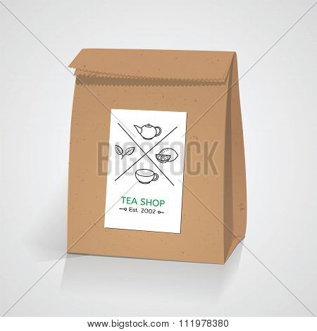Tea craft paper pack bag. Line style tea badge elements