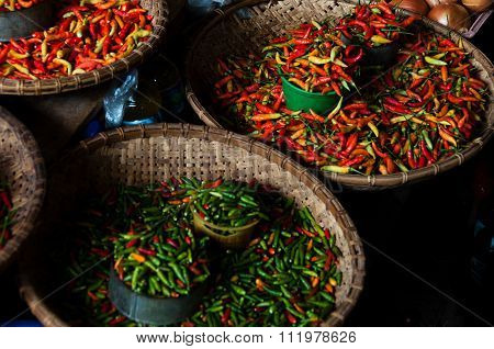 Small Green and Red Chillies at a local Market