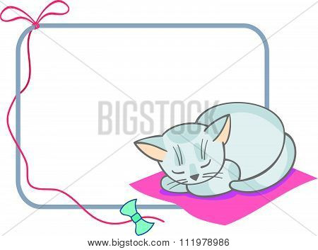 Vector frame with cute sleeping cats