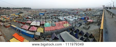 ALLAHABAD, INDIA - FEBRUARY 06 2013: Aerial panorama view of Maha Kumbh Mela festival camp, the world's largest religious gathering.