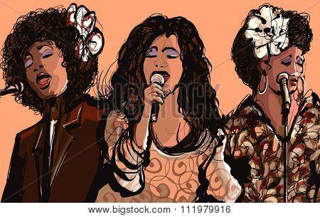 Three women jazz singers - vector illustration