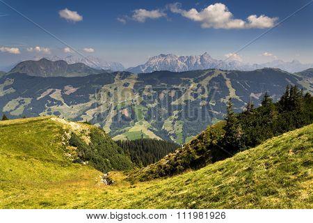 Leogang Mountains With Highest Peak Birnhorn Idyllic Summer Landscape Alps, Austria