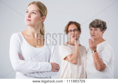 Pensive Girl And Worried Women