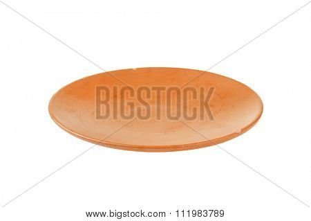 Single empty terracotta dinner plate
