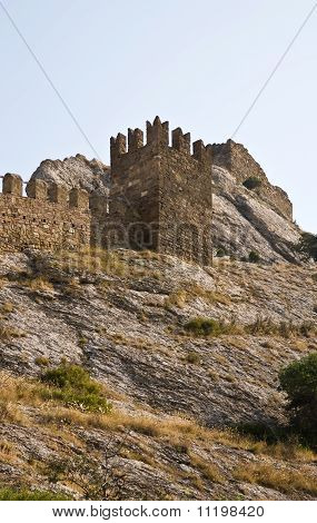 Ruined tower in Sudak fortress