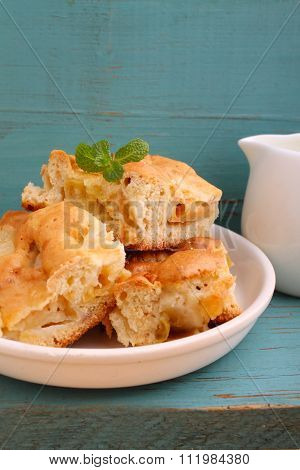 Homemade Apple Pie (charlotte) On A Blue Wooden Background