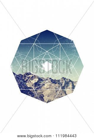Alpine Scenic of Rocky Mountain Ridge on Sunny Day with Clear Blue Sky and Octagon Border with Geometric Overlay on White Background with Copy Space