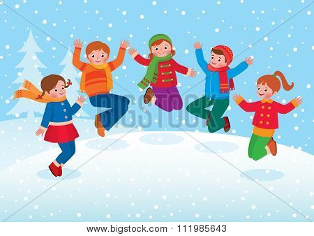 Group Of Kids Playing In The Winter Outdoors