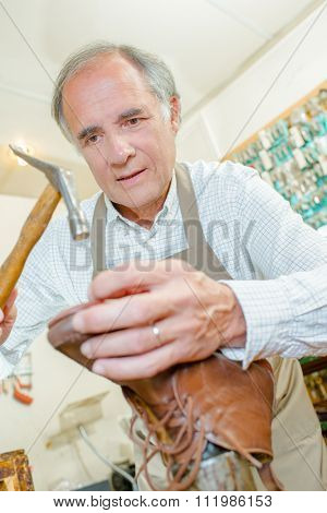 cobbler using hammer