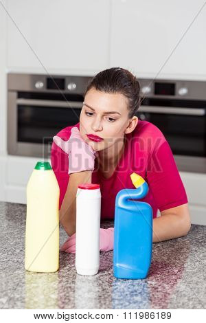 Unhappy Single Woman Doing Housework