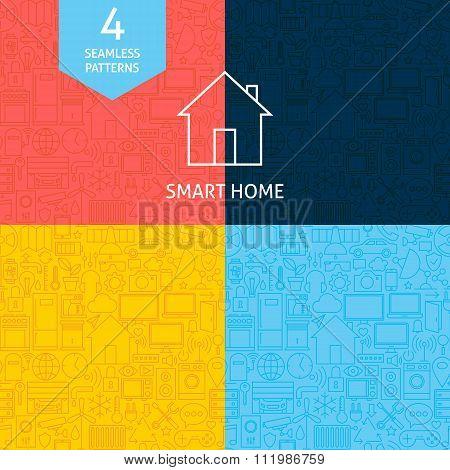 Thin Line Art Home Technology Pattern Set