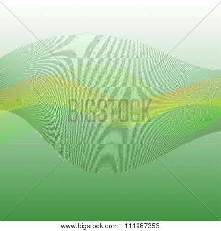 Abstract Green Background With Green, Yellow And Orange Colored Waves And Lines In The Center Textur