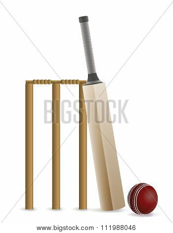 Cricket Bat, Ball, And Wicket Illustration