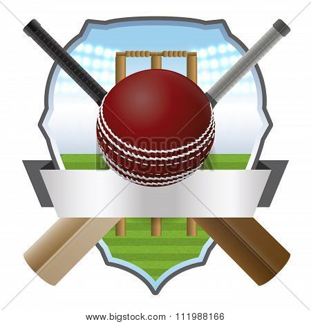 Cricket Bat And Ball Badge Illustration