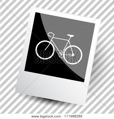 bicycle. Photoframe. Raster icon.