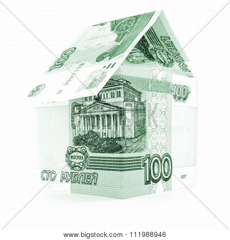 Russian Currency Ruble Business, Rouble Banknote Roof Isolated, White Background