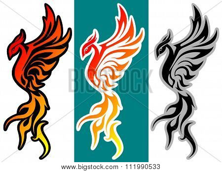 fantasy bird phoenix art vector illustration