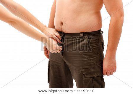 Mãos de abertura ou fecho Placket do homem