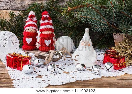 Christmas Composition. Christmas Tree, Gifts And Gnomes
