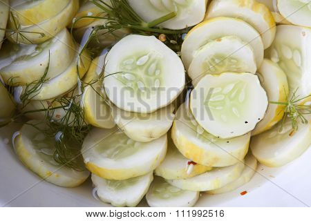 Homemade dill pickles with fresh dill