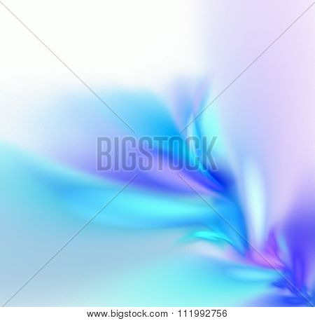 White Abstract Background With Pastel Rainbow - Blue, Turquoise, Purple - Texture, Fractal